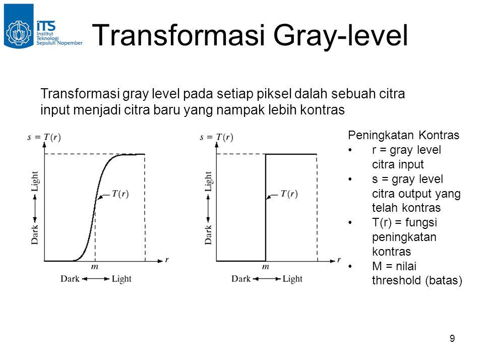 9 Transformasi Gray-level Transformasi gray level pada setiap piksel dalah sebuah citra input menjadi citra baru yang nampak lebih kontras Peningkatan