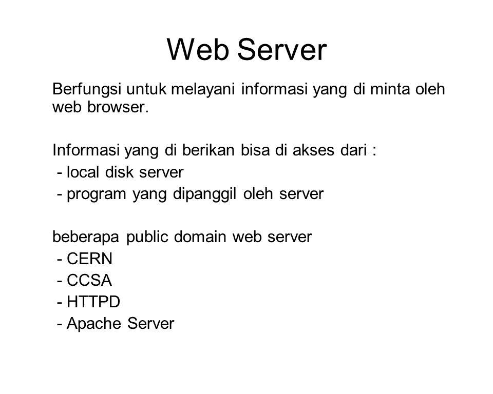 Web Server Berfungsi untuk melayani informasi yang di minta oleh web browser.