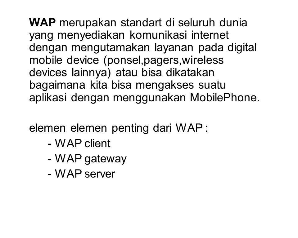 WAP merupakan standart di seluruh dunia yang menyediakan komunikasi internet dengan mengutamakan layanan pada digital mobile device (ponsel,pagers,wireless devices lainnya) atau bisa dikatakan bagaimana kita bisa mengakses suatu aplikasi dengan menggunakan MobilePhone.