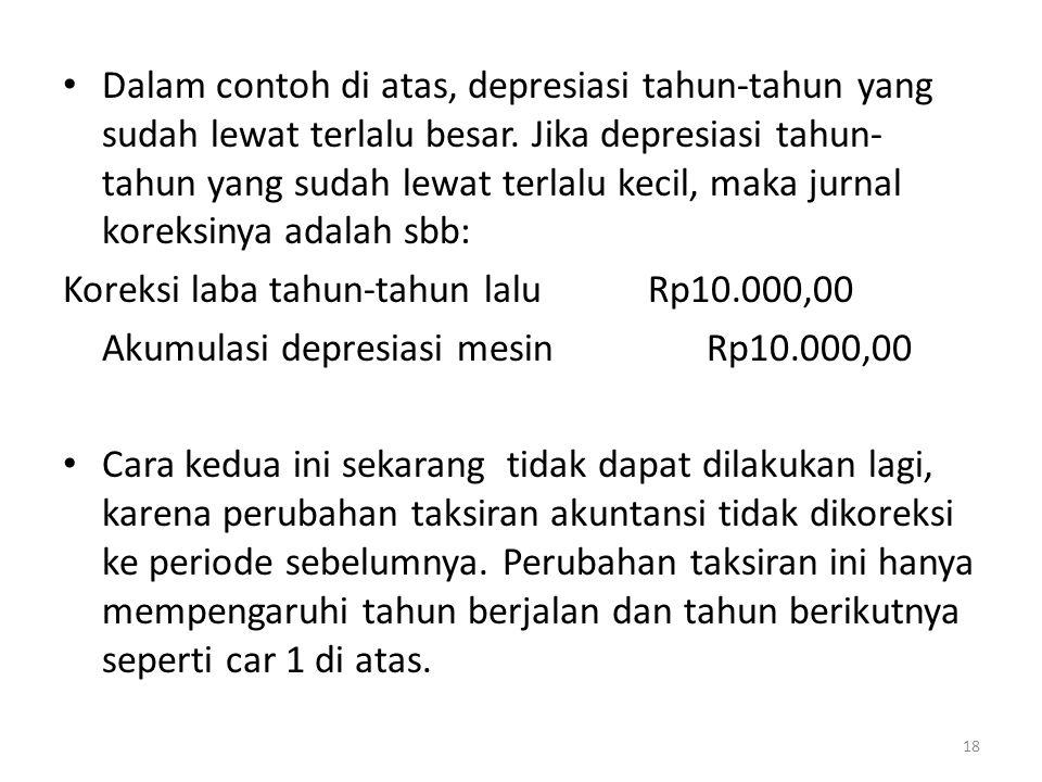 • Dalam contoh di atas, depresiasi tahun-tahun yang sudah lewat terlalu besar. Jika depresiasi tahun- tahun yang sudah lewat terlalu kecil, maka jurna