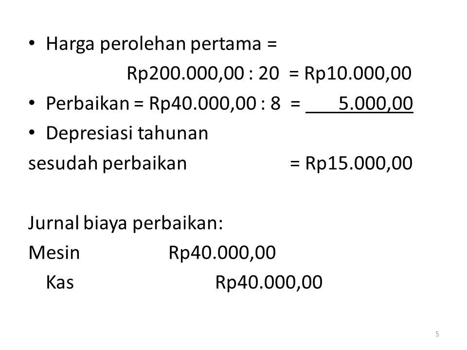 • Harga perolehan pertama = Rp200.000,00 : 20 = Rp10.000,00 • Perbaikan = Rp40.000,00 : 8 = 5.000,00 • Depresiasi tahunan sesudah perbaikan = Rp15.000
