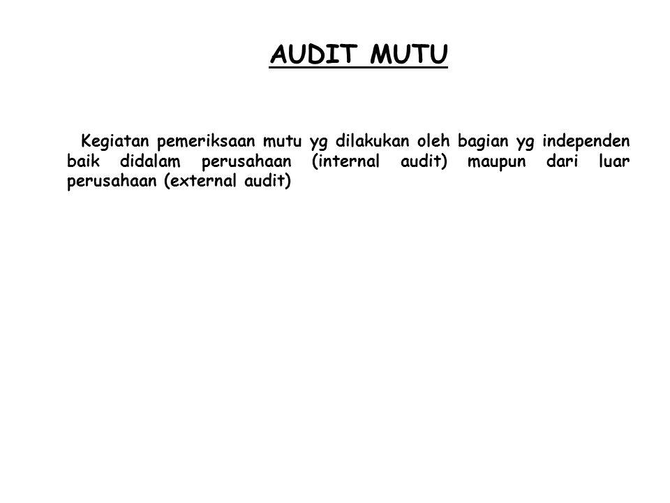 AUDIT MUTU Kegiatan pemeriksaan mutu yg dilakukan oleh bagian yg independen baik didalam perusahaan (internal audit) maupun dari luar perusahaan (exte