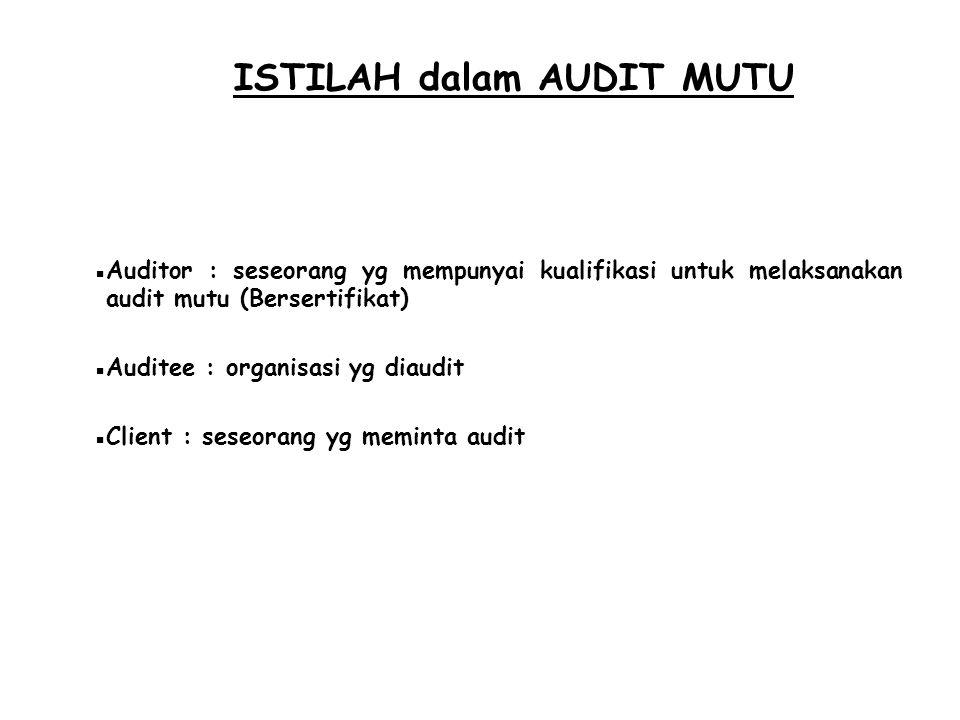 ISTILAH dalam AUDIT MUTU  Auditor : seseorang yg mempunyai kualifikasi untuk melaksanakan audit mutu (Bersertifikat)  Auditee : organisasi yg diaudi