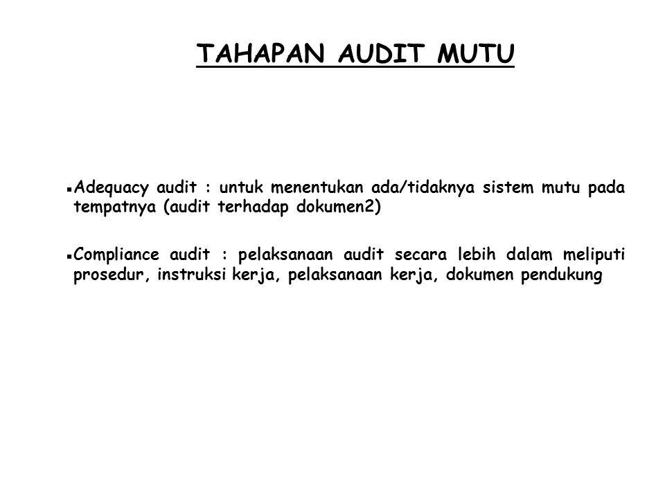 TAHAPAN AUDIT MUTU  Adequacy audit : untuk menentukan ada/tidaknya sistem mutu pada tempatnya (audit terhadap dokumen2)  Compliance audit : pelaksan