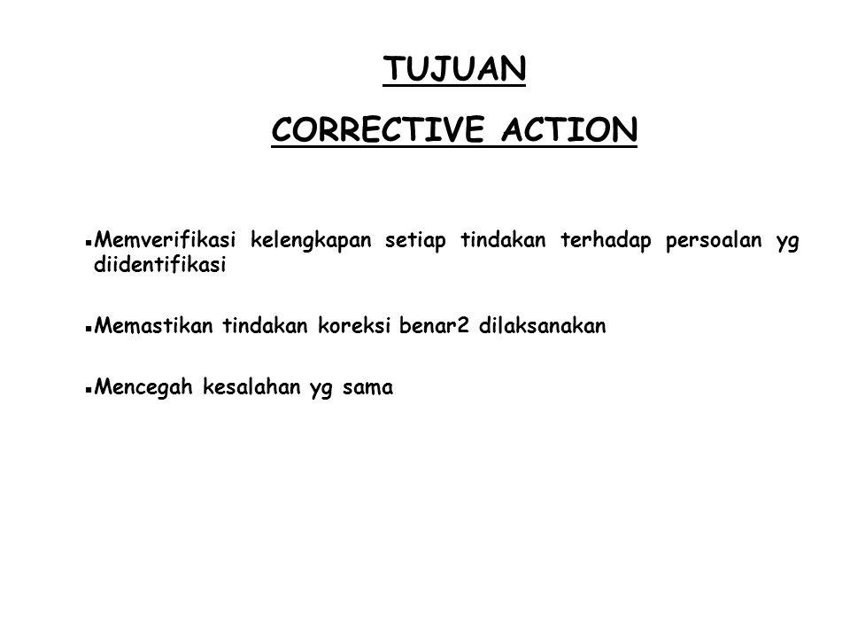TUJUAN CORRECTIVE ACTION  Memverifikasi kelengkapan setiap tindakan terhadap persoalan yg diidentifikasi  Memastikan tindakan koreksi benar2 dilaksa