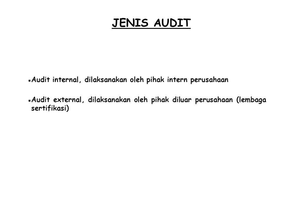 JENIS AUDIT  Audit internal, dilaksanakan oleh pihak intern perusahaan  Audit external, dilaksanakan oleh pihak diluar perusahaan (lembaga sertifika