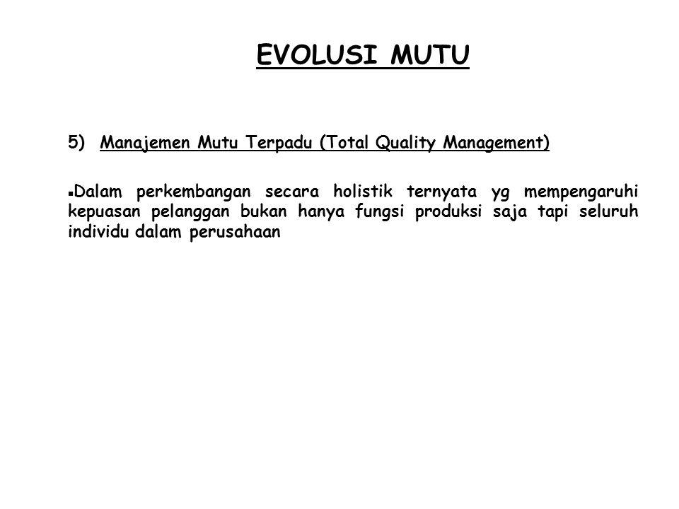 EVOLUSI MUTU 5) Manajemen Mutu Terpadu (Total Quality Management)  Dalam perkembangan secara holistik ternyata yg mempengaruhi kepuasan pelanggan buk