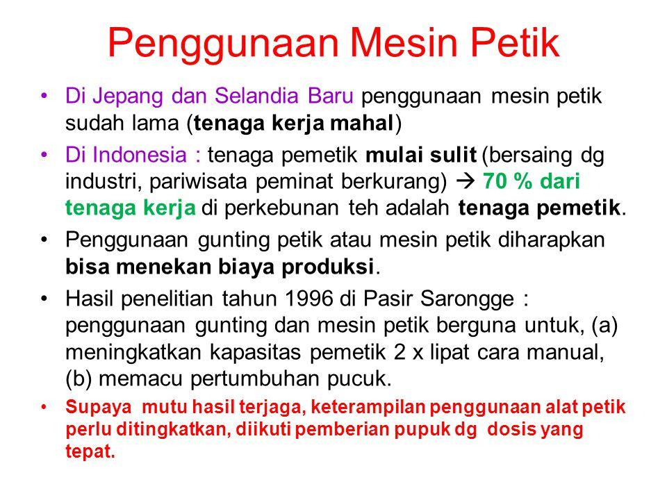 Penggunaan Mesin Petik •Di Jepang dan Selandia Baru penggunaan mesin petik sudah lama (tenaga kerja mahal) •Di Indonesia : tenaga pemetik mulai sulit
