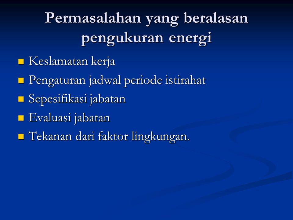 Permasalahan yang beralasan pengukuran energi  Keslamatan kerja  Pengaturan jadwal periode istirahat  Sepesifikasi jabatan  Evaluasi jabatan  Tek