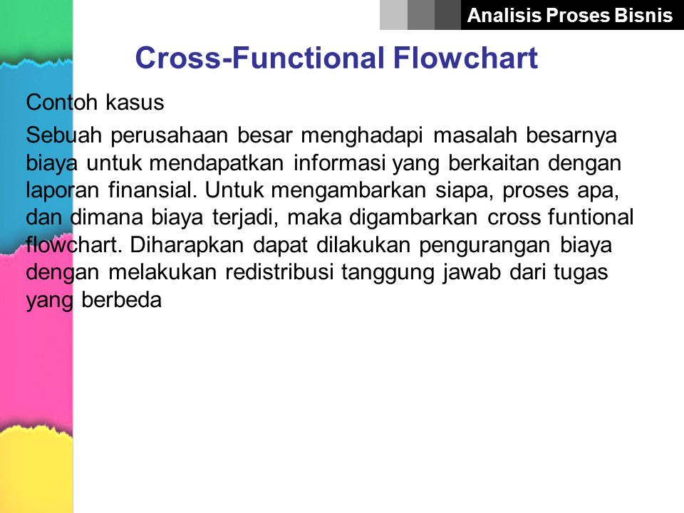 Analisis Proses Bisnis Cross-Functional Flowchart Contoh kasus Sebuah perusahaan besar menghadapi masalah besarnya biaya untuk mendapatkan informasi y