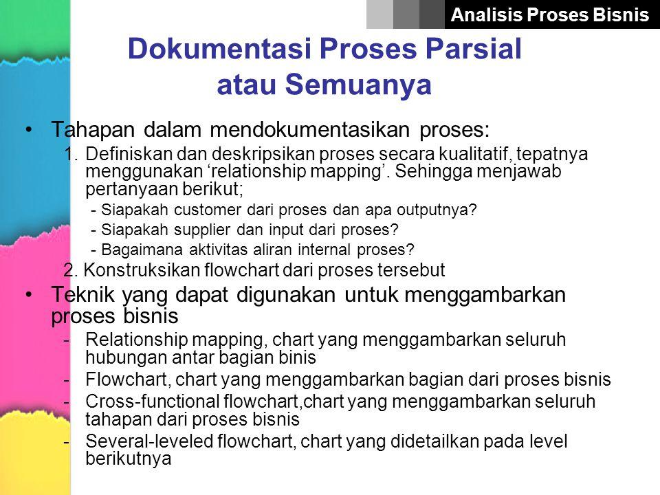 Analisis Proses Bisnis Dokumentasi Proses Parsial atau Semuanya •Tahapan dalam mendokumentasikan proses: 1.Definiskan dan deskripsikan proses secara k