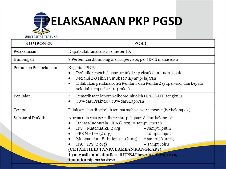 PELAKSANAAN PKP PGSD KOMPONENPGSD PelaksanaanDapat dilaksanakan di semester 10. Bimbingan8 Pertemuan dibimbing oleh supervisor, per 10-12 mahasiswa Pe