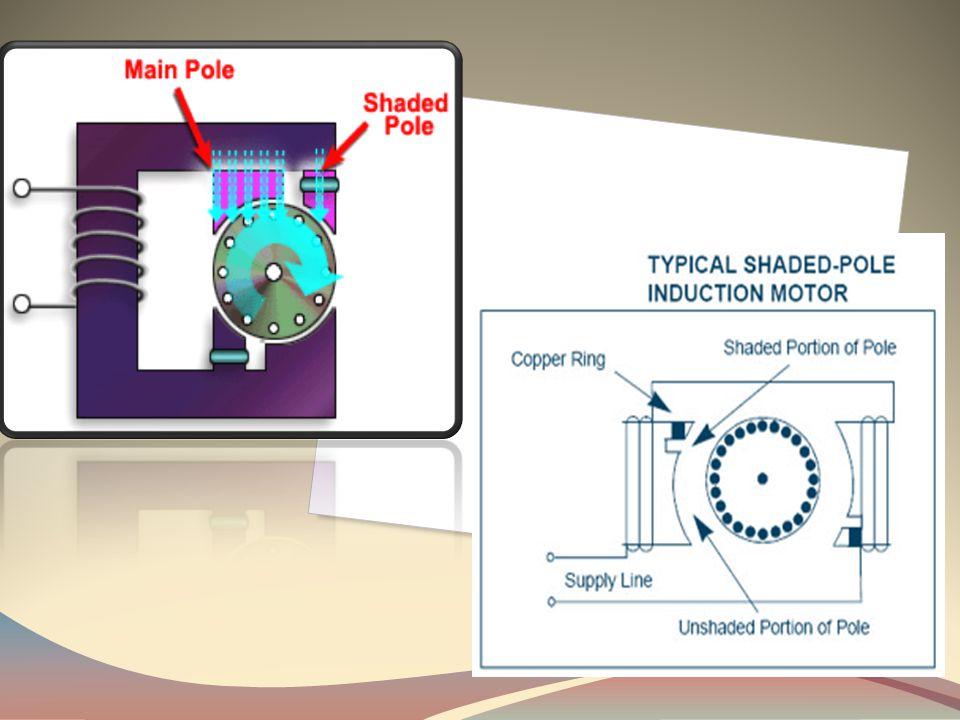 Konstruksi motor shaded pole • Stator : merupakan bagian kutub-kutub yang bagian permukaannya ditempatkan cincin yang terbuat dari tembaga karena cinc