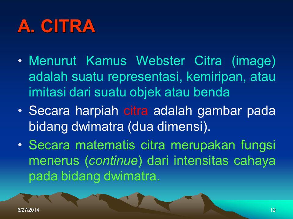 A. CITRA •Menurut Kamus Webster Citra (image) adalah suatu representasi, kemiripan, atau imitasi dari suatu objek atau benda •Secara harpiah citra ada