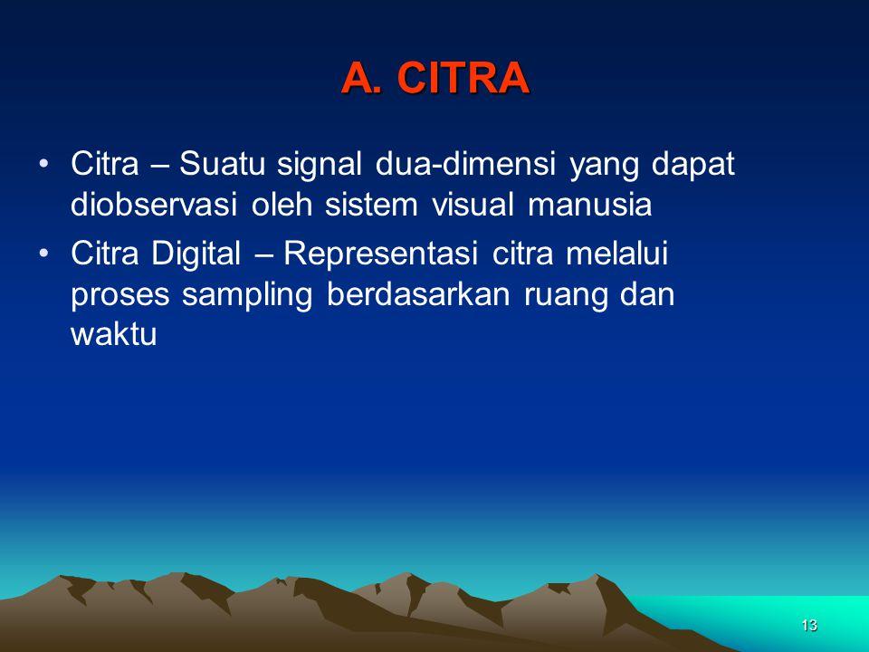 13 A. CITRA •Citra – Suatu signal dua-dimensi yang dapat diobservasi oleh sistem visual manusia •Citra Digital – Representasi citra melalui proses sam
