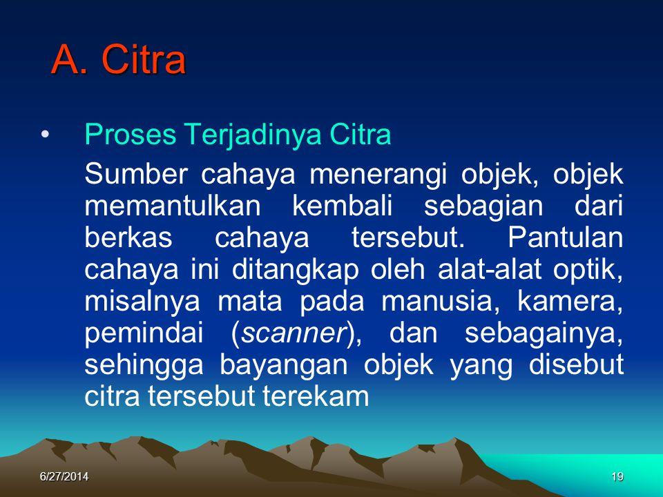 A. Citra A. Citra •Proses Terjadinya Citra Sumber cahaya menerangi objek, objek memantulkan kembali sebagian dari berkas cahaya tersebut. Pantulan cah