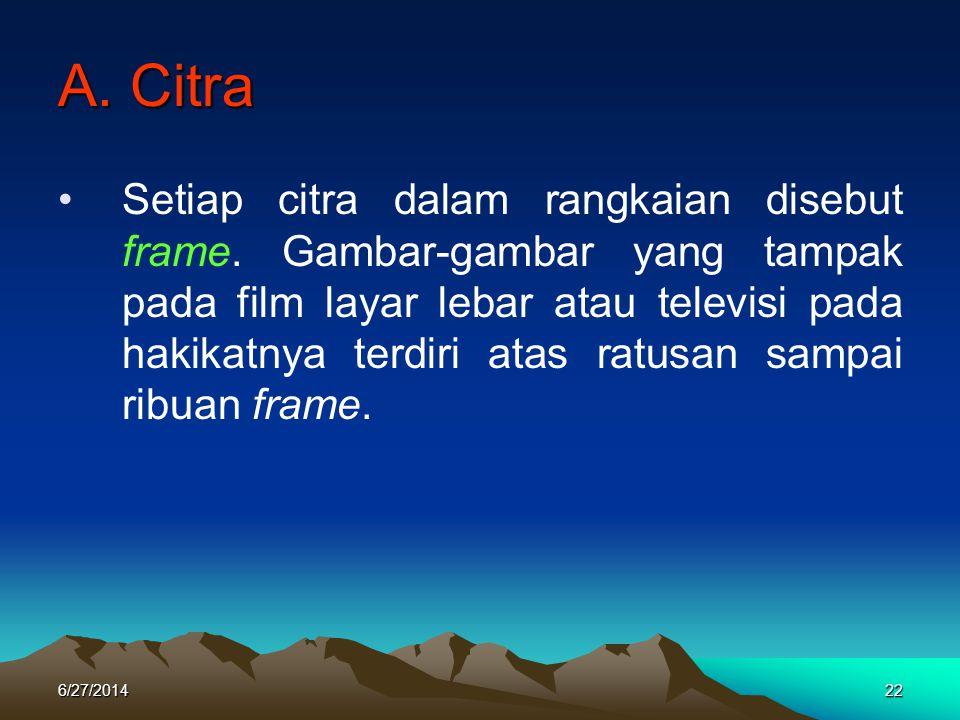 A. Citra •Setiap citra dalam rangkaian disebut frame. Gambar-gambar yang tampak pada film layar lebar atau televisi pada hakikatnya terdiri atas ratus