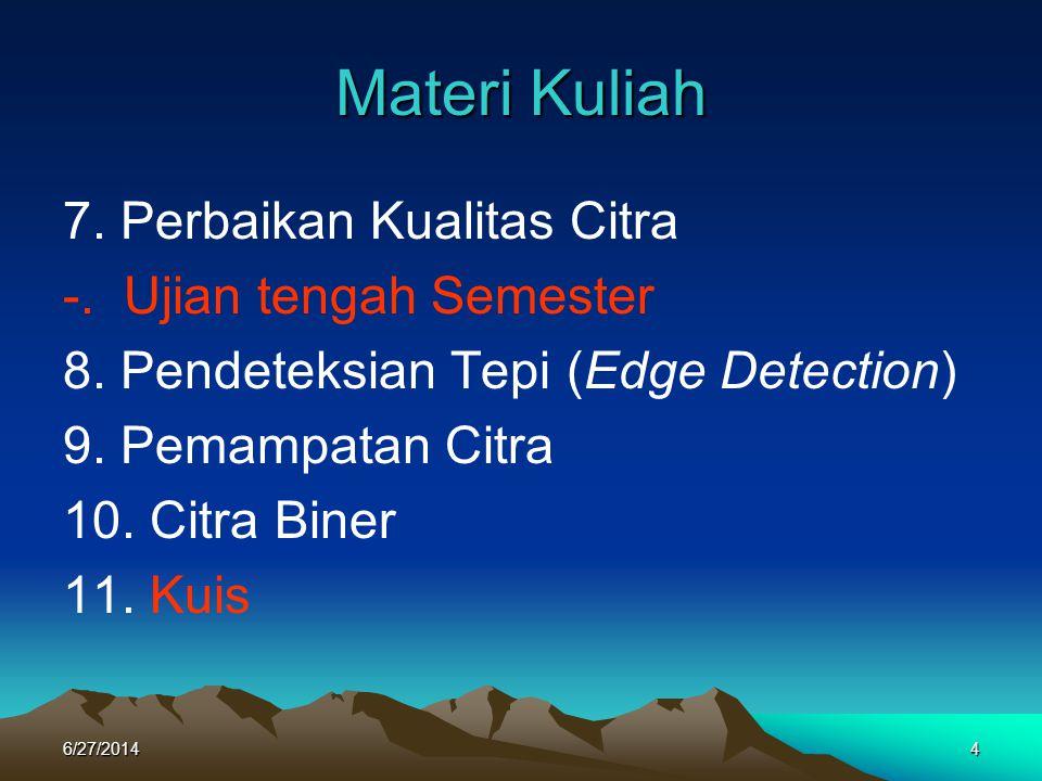 Materi Kuliah 7. Perbaikan Kualitas Citra -. Ujian tengah Semester 8. Pendeteksian Tepi (Edge Detection) 9. Pemampatan Citra 10. Citra Biner 11. Kuis