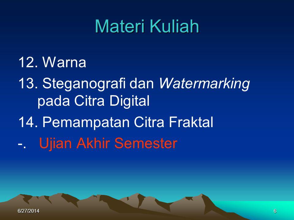 Materi Kuliah 12. Warna 13. Steganografi dan Watermarking pada Citra Digital 14. Pemampatan Citra Fraktal -. Ujian Akhir Semester 6/27/20146