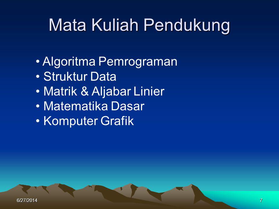 Mata Kuliah Pendukung 6/27/20147 • Algoritma Pemrograman • Struktur Data • Matrik & Aljabar Linier • Matematika Dasar • Komputer Grafik