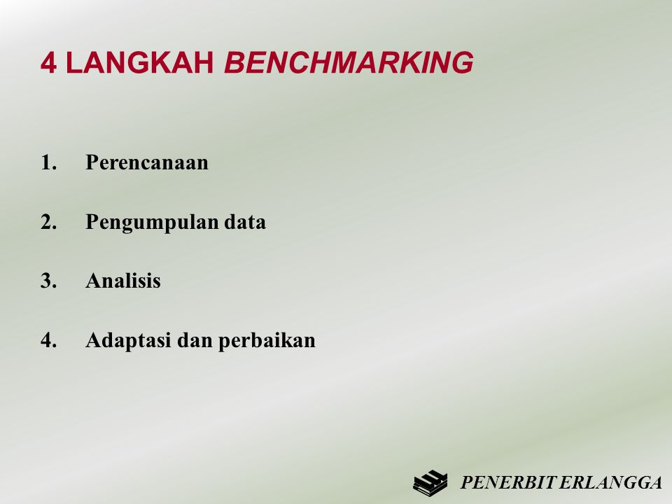 4 LANGKAH BENCHMARKING 1.Perencanaan 2.Pengumpulan data 3.Analisis 4.Adaptasi dan perbaikan PENERBIT ERLANGGA