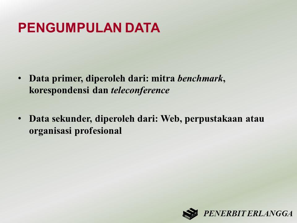 PENGUMPULAN DATA • Data primer, diperoleh dari: mitra benchmark, korespondensi dan teleconference • Data sekunder, diperoleh dari: Web, perpustakaan a