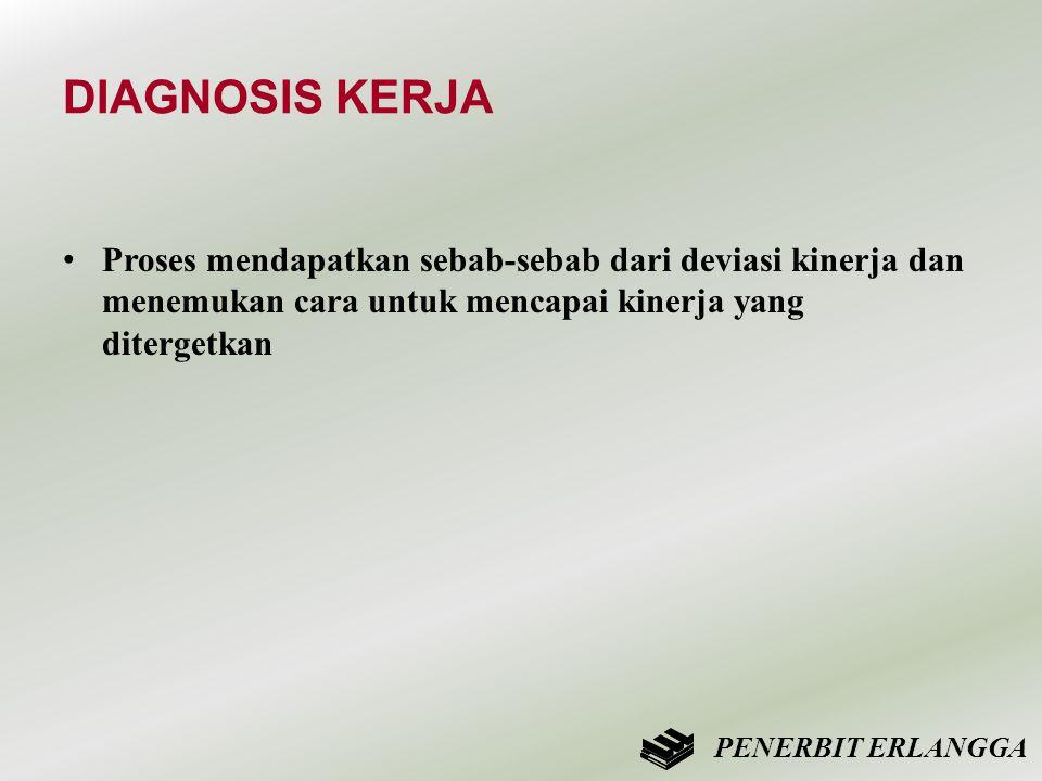 DIAGNOSIS KERJA • Proses mendapatkan sebab-sebab dari deviasi kinerja dan menemukan cara untuk mencapai kinerja yang ditergetkan PENERBIT ERLANGGA