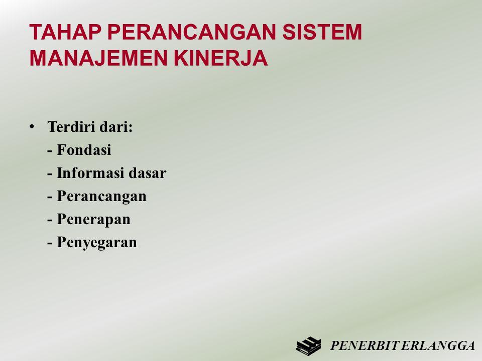 TAHAP PERANCANGAN SISTEM MANAJEMEN KINERJA • Terdiri dari: - Fondasi - Informasi dasar - Perancangan - Penerapan - Penyegaran PENERBIT ERLANGGA