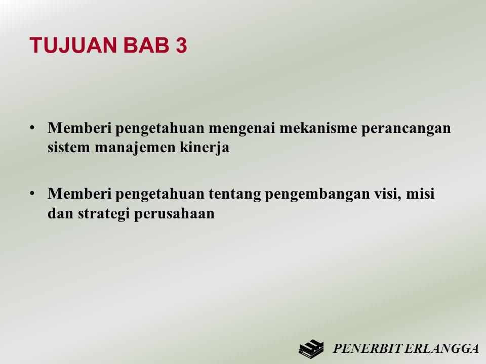 TUJUAN BAB 3 • Memberi pengetahuan mengenai mekanisme perancangan sistem manajemen kinerja • Memberi pengetahuan tentang pengembangan visi, misi dan s
