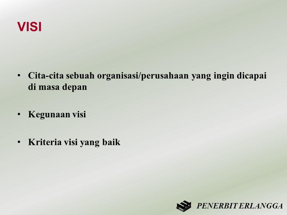 VISI • Cita-cita sebuah organisasi/perusahaan yang ingin dicapai di masa depan • Kegunaan visi • Kriteria visi yang baik PENERBIT ERLANGGA
