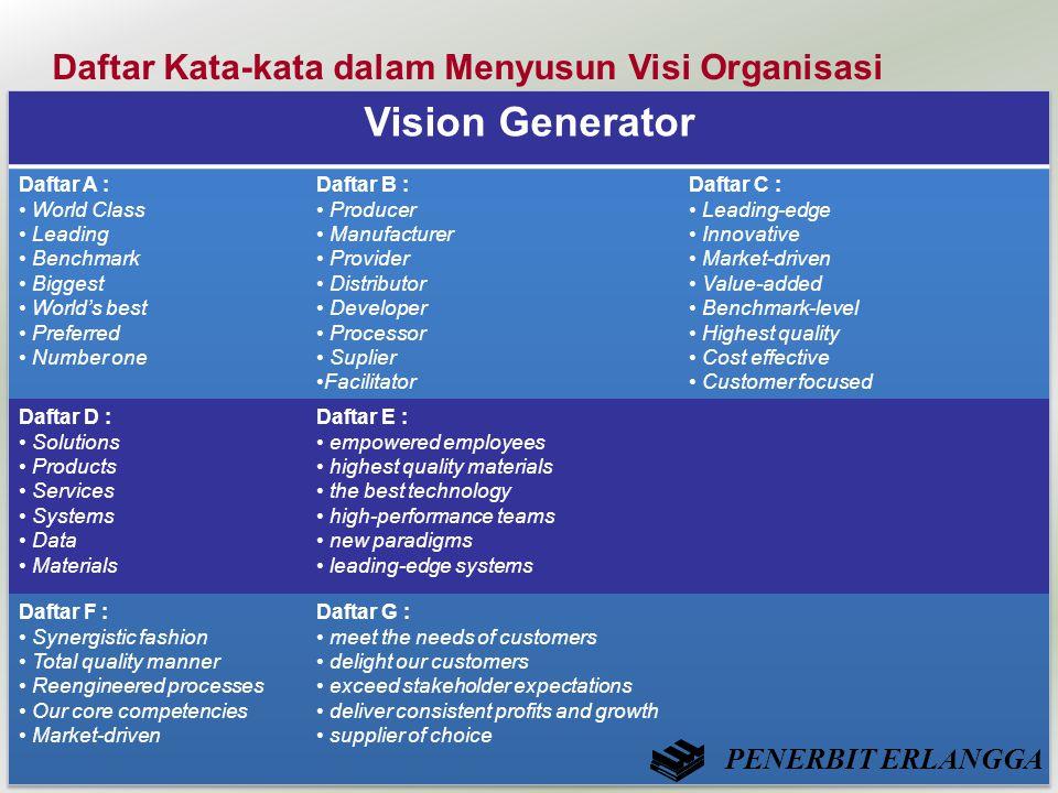 Daftar Kata-kata dalam Menyusun Visi Organisasi PENERBIT ERLANGGA