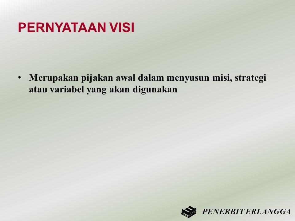 PERNYATAAN VISI • Merupakan pijakan awal dalam menyusun misi, strategi atau variabel yang akan digunakan PENERBIT ERLANGGA