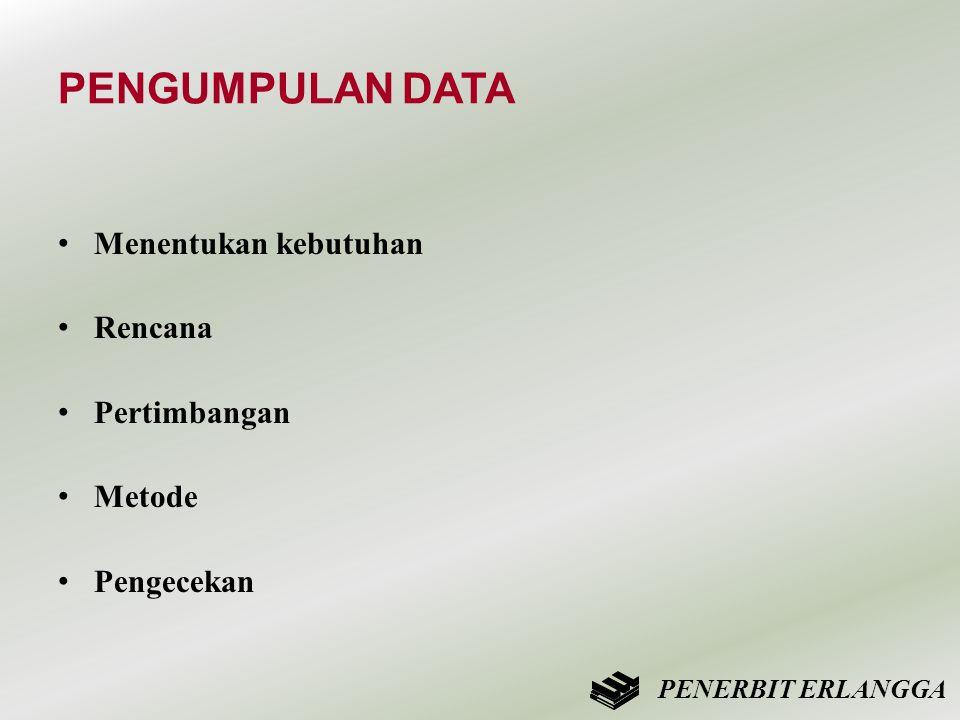 PENGUMPULAN DATA • Menentukan kebutuhan • Rencana • Pertimbangan • Metode • Pengecekan PENERBIT ERLANGGA