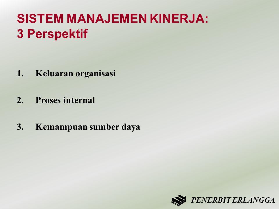 SISTEM MANAJEMEN KINERJA: 3 Perspektif 1.Keluaran organisasi 2.Proses internal 3.Kemampuan sumber daya PENERBIT ERLANGGA
