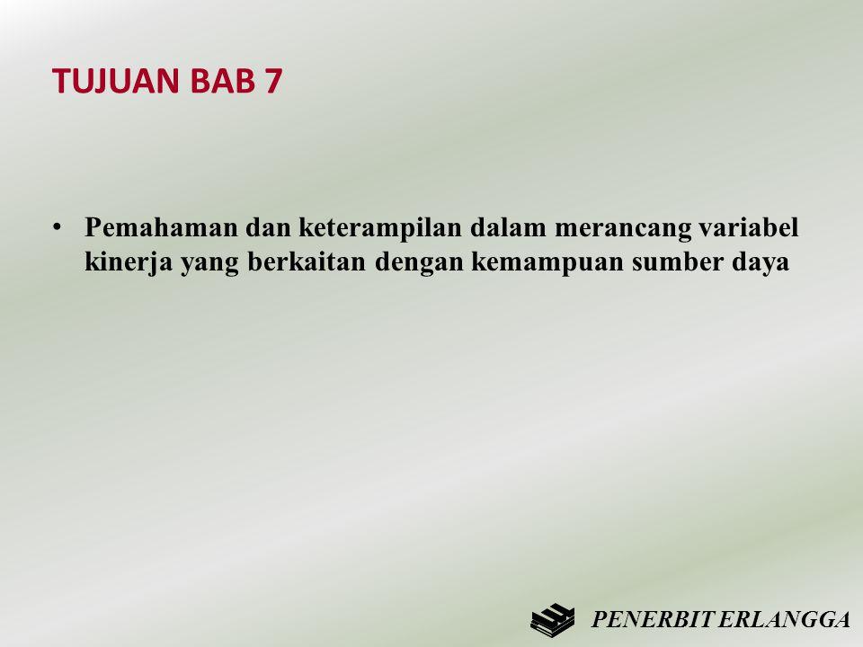 TUJUAN BAB 7 • Pemahaman dan keterampilan dalam merancang variabel kinerja yang berkaitan dengan kemampuan sumber daya PENERBIT ERLANGGA