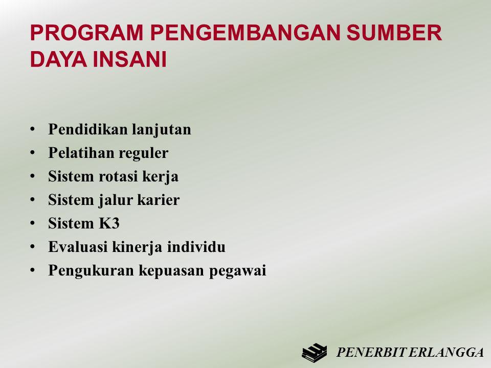 PROGRAM PENGEMBANGAN SUMBER DAYA INSANI • Pendidikan lanjutan • Pelatihan reguler • Sistem rotasi kerja • Sistem jalur karier • Sistem K3 • Evaluasi k