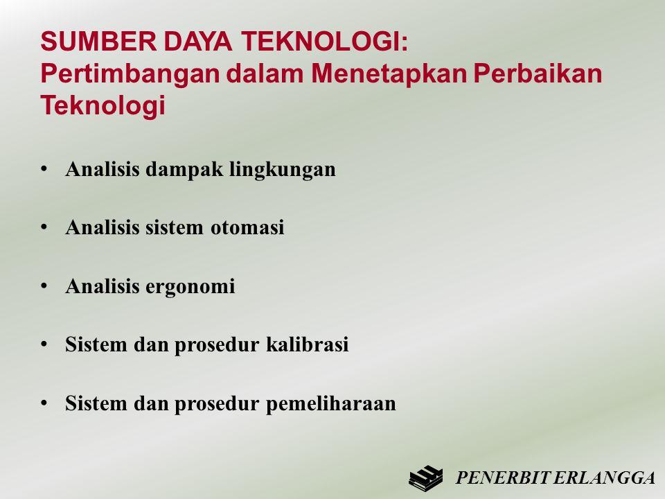 SUMBER DAYA TEKNOLOGI: Pertimbangan dalam Menetapkan Perbaikan Teknologi • Analisis dampak lingkungan • Analisis sistem otomasi • Analisis ergonomi •
