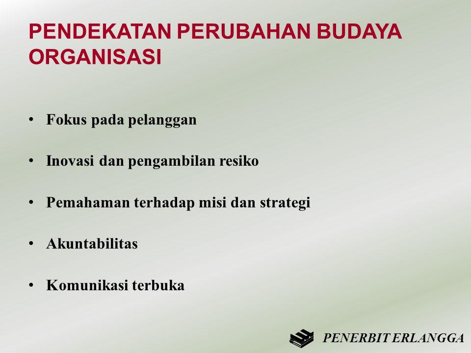 PENDEKATAN PERUBAHAN BUDAYA ORGANISASI • Fokus pada pelanggan • Inovasi dan pengambilan resiko • Pemahaman terhadap misi dan strategi • Akuntabilitas