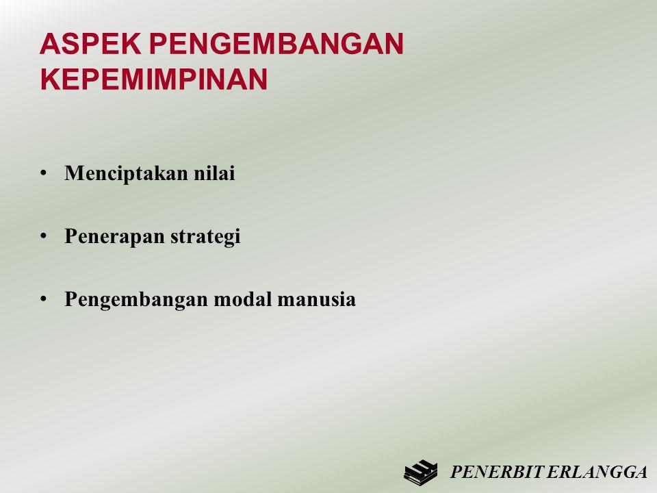 ASPEK PENGEMBANGAN KEPEMIMPINAN • Menciptakan nilai • Penerapan strategi • Pengembangan modal manusia PENERBIT ERLANGGA