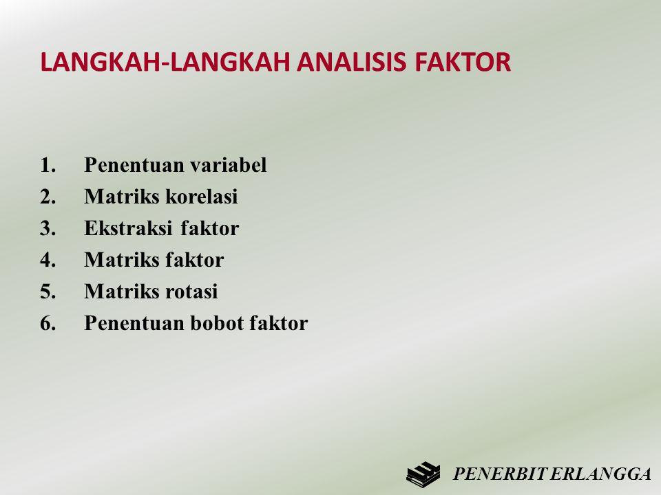 LANGKAH-LANGKAH ANALISIS FAKTOR 1.Penentuan variabel 2.Matriks korelasi 3.Ekstraksi faktor 4.Matriks faktor 5.Matriks rotasi 6.Penentuan bobot faktor