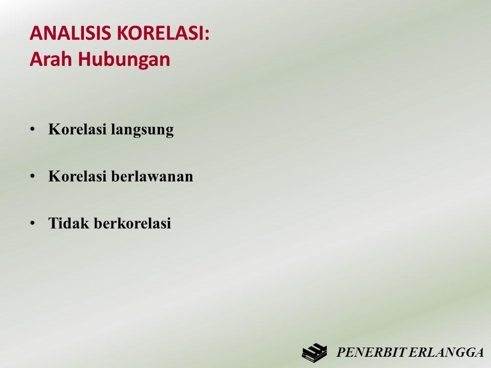 ANALISIS KORELASI: Arah Hubungan • Korelasi langsung • Korelasi berlawanan • Tidak berkorelasi PENERBIT ERLANGGA