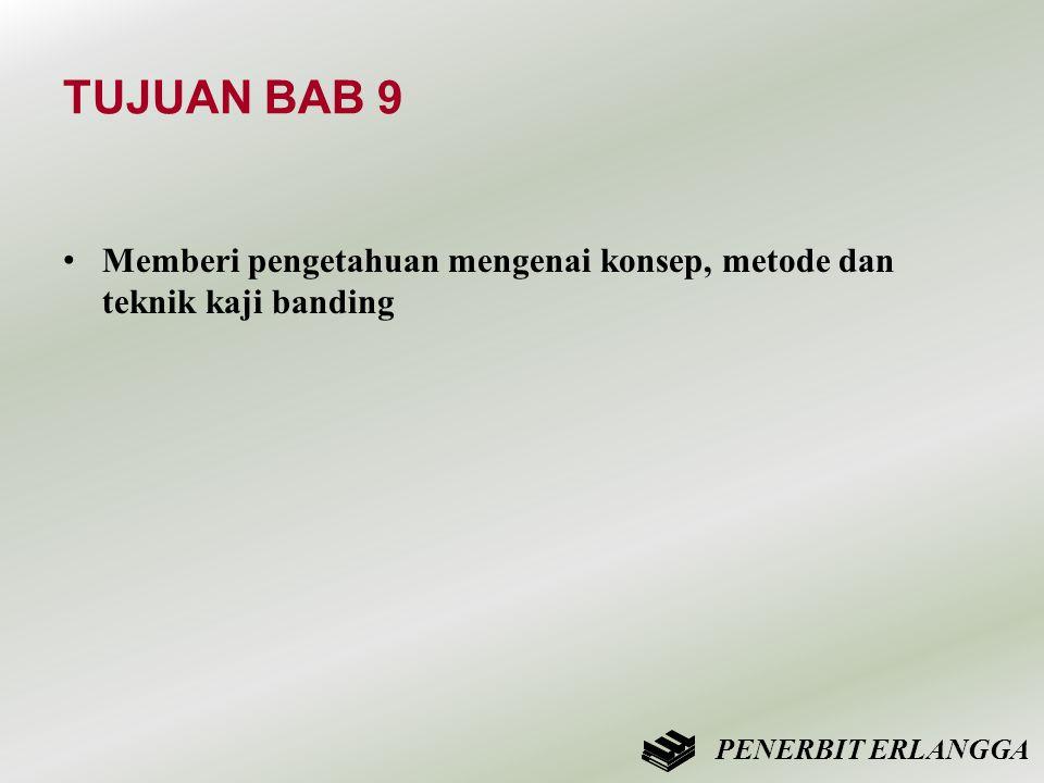 TUJUAN BAB 9 • Memberi pengetahuan mengenai konsep, metode dan teknik kaji banding PENERBIT ERLANGGA