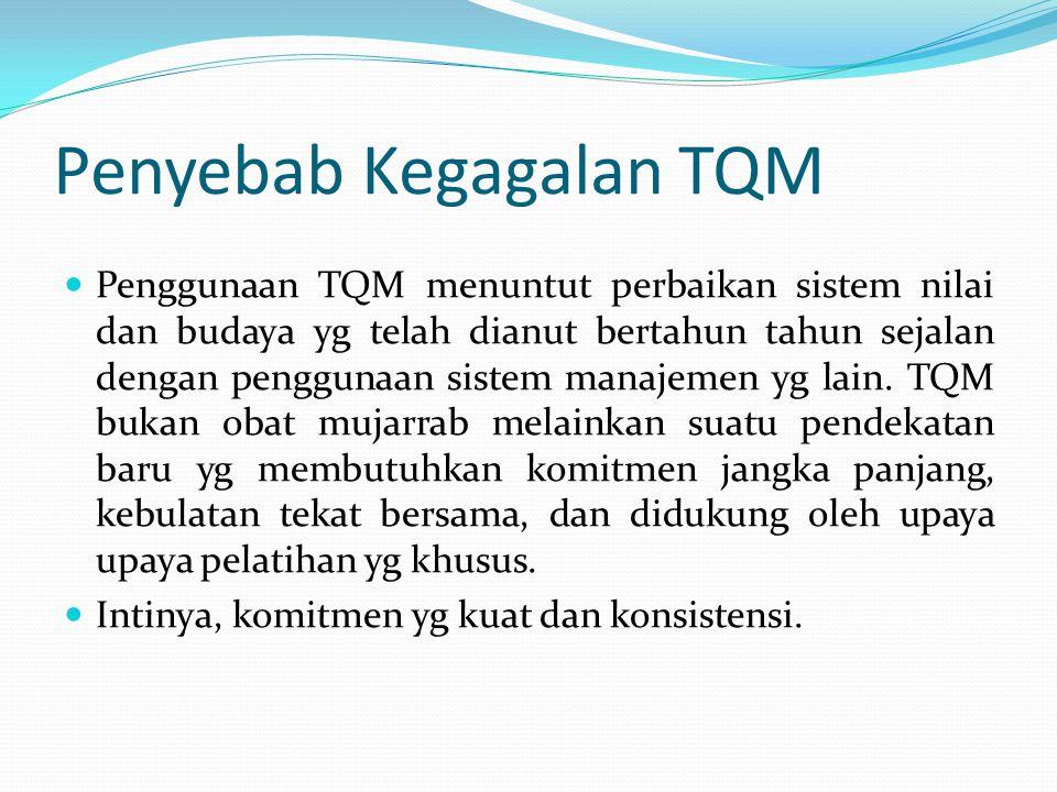 Penyebab Kegagalan TQM  Penggunaan TQM menuntut perbaikan sistem nilai dan budaya yg telah dianut bertahun tahun sejalan dengan penggunaan sistem manajemen yg lain.