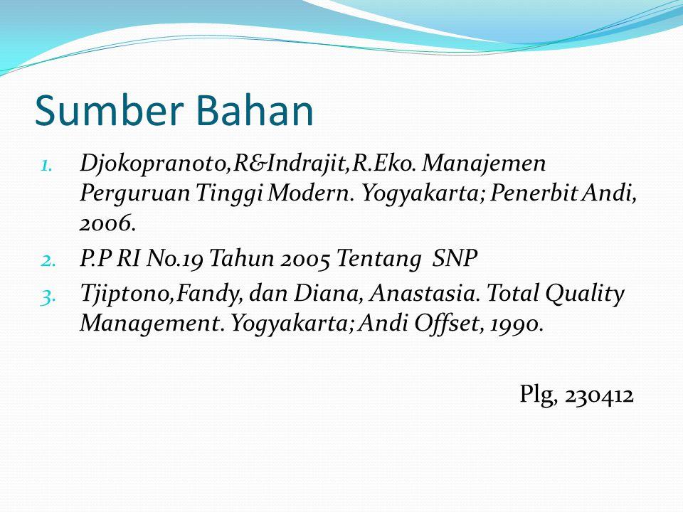 Sumber Bahan 1.Djokopranoto,R&Indrajit,R.Eko. Manajemen Perguruan Tinggi Modern.