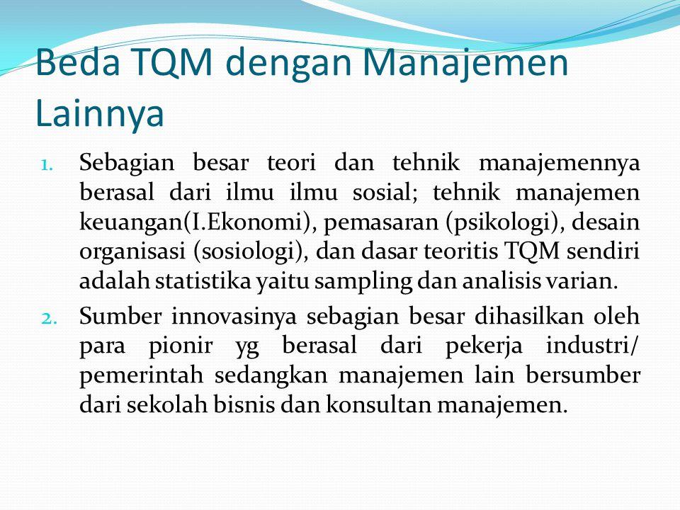 Beda TQM dengan Manajemen Lainnya 1.
