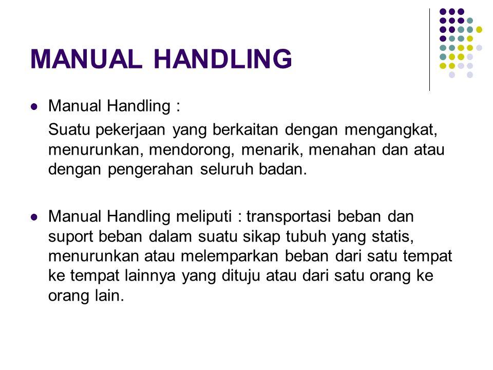 Penilaian Resiko Manual Handling Proses Penilaian resiko pada pekerjaan yang berkaitan dengan manual handling dapat juga dilakukan dengan menentukan berbagai resiko cedera yang lebih spesifik dalam kelompok faktor sebagai berikut : 1.