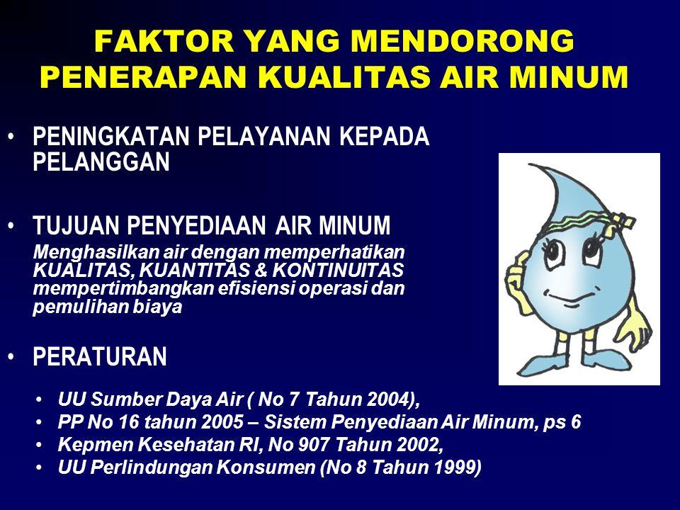FAKTOR YANG MENDORONG PENERAPAN KUALITAS AIR MINUM • PENINGKATAN PELAYANAN KEPADA PELANGGAN • TUJUAN PENYEDIAAN AIR MINUM Menghasilkan air dengan memp
