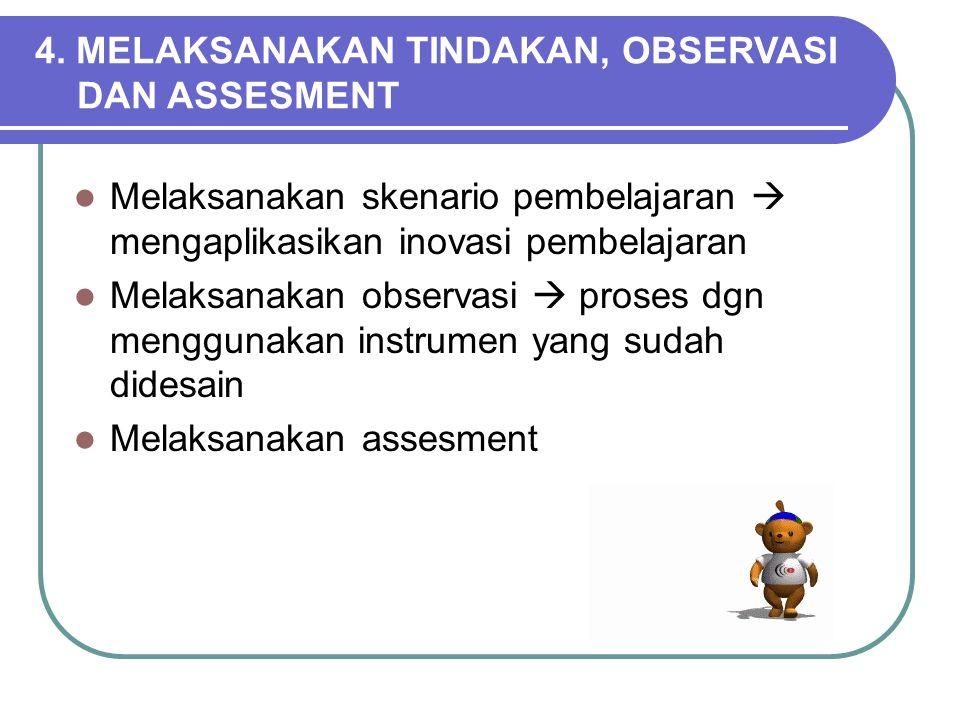 Kegiatan yang dilakukan dalam PERENCANAAN 1.Membuat skenario tindakan 2.Mempersiapkan Sarana Pembelajaran 3.Mempersiapkan Instrumen Pengembangan 4.Men