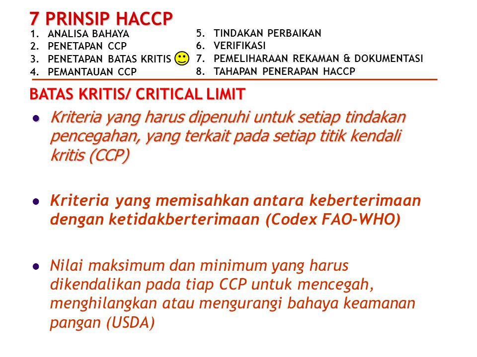 1.ANALISA BAHAYA 2.PENETAPAN CCP 3.PENETAPAN BATAS KRITIS 4.PEMANTAUAN CCP 7 PRINSIP HACCP 5.TINDAKAN PERBAIKAN 6.VERIFIKASI 7.PEMELIHARAAN REKAMAN &