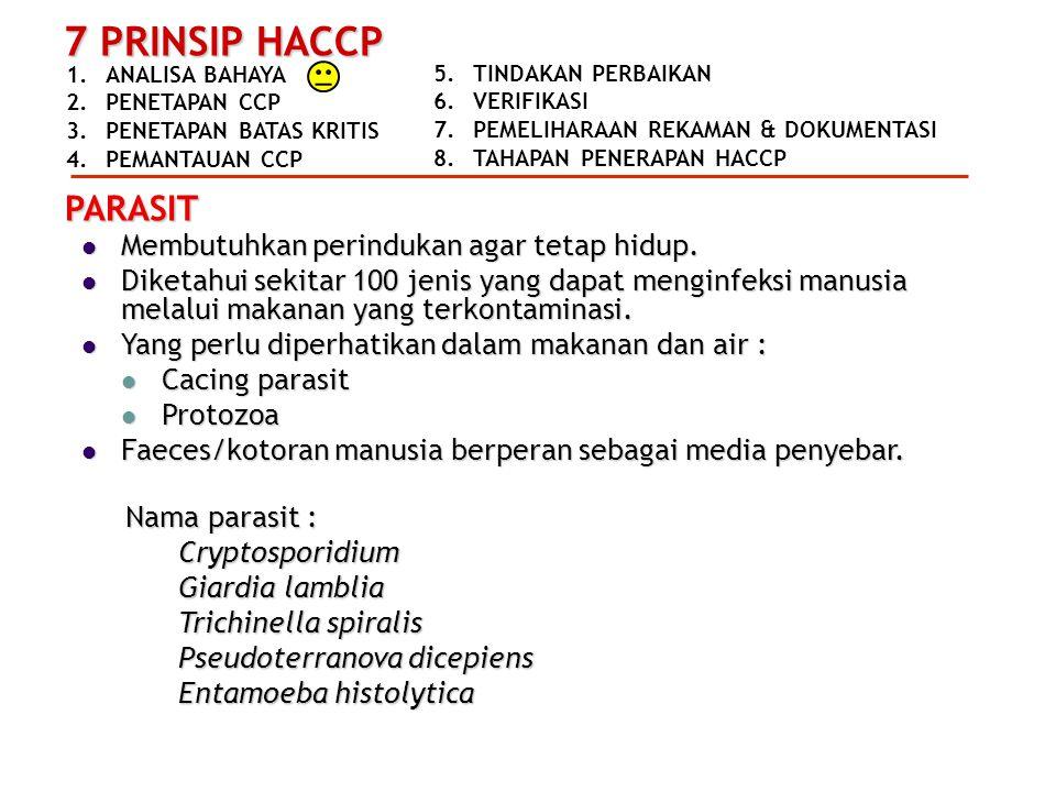 1.ANALISA BAHAYA 2.PENETAPAN CCP 3.PENETAPAN BATAS KRITIS 4.PEMANTAUAN CCP 7 PRINSIP HACCP 5.TINDAKAN PERBAIKAN 6.VERIFIKASI 7.PEMELIHARAAN REKAMAN & DOKUMENTASI 8.TAHAPAN PENERAPAN HACCP PARASIT  Membutuhkan perindukan agar tetap hidup.
